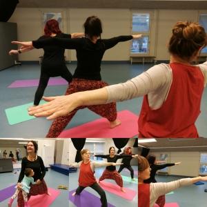 valokuva mielenterveysseuran vapaaehtoisista ja jäsenistä joogaamassa hyvän mielen tapahtumassa.